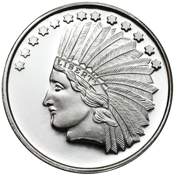Buy 1 Oz Silvertowne Indian Head Silver Rounds 999